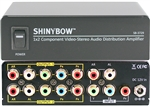 1x2 1:2 Component Video + Stereo R/L Audio Splitter Distribution Amplifier SB-3729